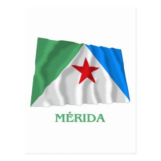 Bandeira de ondulação de Mérida com nome Cartão Postal