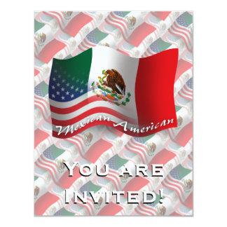 Bandeira de ondulação do méxico-americano convite 10.79 x 13.97cm