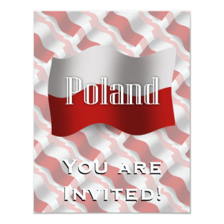 Bandeira de ondulação do Polônia Convite 10.79 X 13.97cm