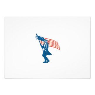 Bandeira de ondulação do soldado americano do convites personalizado