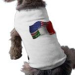 Bandeira de ondulação Italiano-Americana Camiseta Para Caes