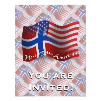 Bandeira de ondulação Norueguês-Americana Convite 10.79 X 13.97cm