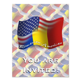 Bandeira de ondulação Romeno-Americana Convite 10.79 X 13.97cm