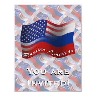 Bandeira de ondulação Russo-Americana Convite 10.79 X 13.97cm