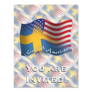 Bandeira de ondulação Sueco-Americana Convite 10.79 X 13.97cm