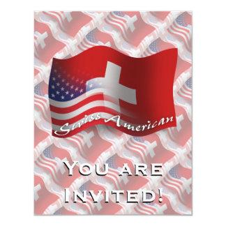 Bandeira de ondulação Suíço-Americana Convite 10.79 X 13.97cm