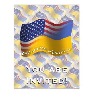 Bandeira de ondulação Ucraniano-Americana Convite 10.79 X 13.97cm
