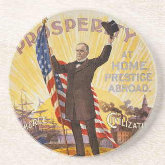 Bandeira de ouro do poster da campanha de William  Porta Copos De Arenito