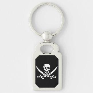 Bandeira de pirata alegre de Roger Chaveiro Retangular Cor Prata
