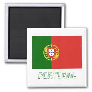 Bandeira de Portugal com nome Ímã Quadrado
