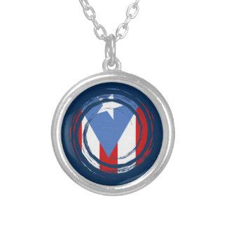 Bandeira de Puerto Rico Colar Banhado A Prata