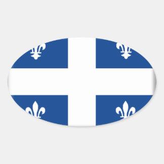 Bandeira de Quebeque (Canadá) Adesivos Em Formato Oval