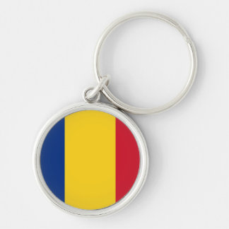 Bandeira de Romania Chaveiro Redondo Na Cor Prata
