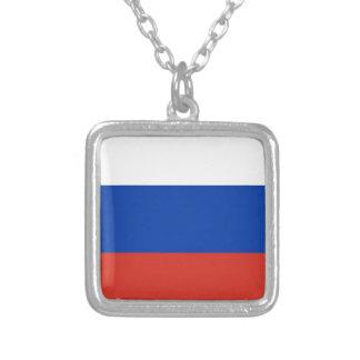 Bandeira de Rússia - ФлагРоссии - Триколор Colar Banhado A Prata