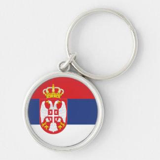 Bandeira de Serbia Chaveiro Redondo Na Cor Prata