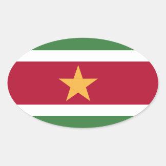 Bandeira de Suriname Adesivo Oval