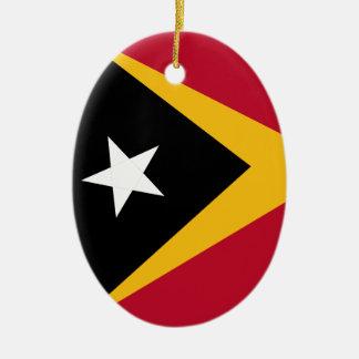Bandeira de Timor-Leste Ornamento De Cerâmica Oval