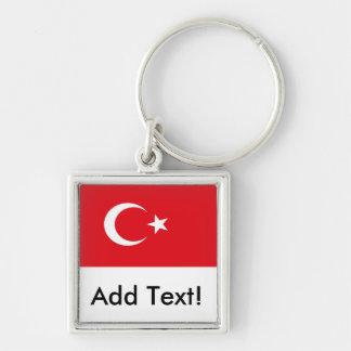Bandeira de Turquia Chaveiro Quadrado Na Cor Prata