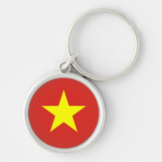 Bandeira de Vietnam Chaveiro Redondo Na Cor Prata