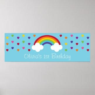 Bandeira do aniversário dos corações do arco-íris poster
