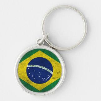 Bandeira do Brasil Chaveiro Redondo Na Cor Prata