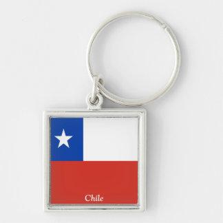 Bandeira do Chile Chaveiro Quadrado Na Cor Prata