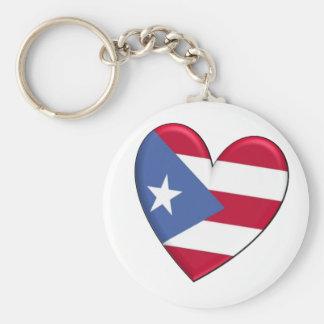 Bandeira do coração de Puerto Rico Chaveiro