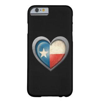 Bandeira do coração de Texas com efeito do metal Capa Barely There Para iPhone 6