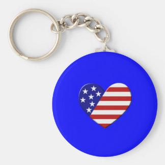 Bandeira do coração dos EUA Chaveiro