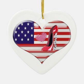 Bandeira do coração e ornamento americanos dos