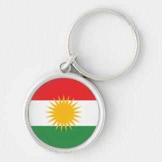 Bandeira do Curdistão Chaveiro Redondo Na Cor Prata