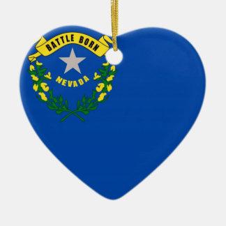 Bandeira do estado de Nevada Ornamento De Cerâmica Coração