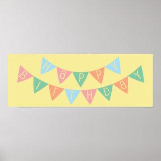 Bandeira do feliz aniversario pôster