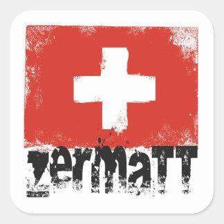 Bandeira do Grunge de Zermatt Adesivo Quadrado