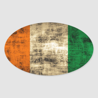 Bandeira do irlandês do Grunge Adesivo Oval