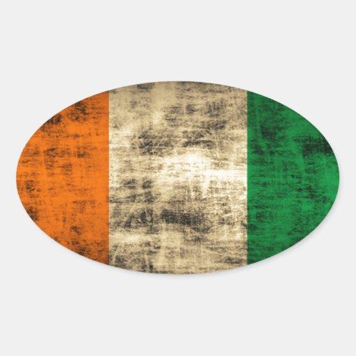 Bandeira do irlandês do Grunge Adesivos Em Formato Ovais