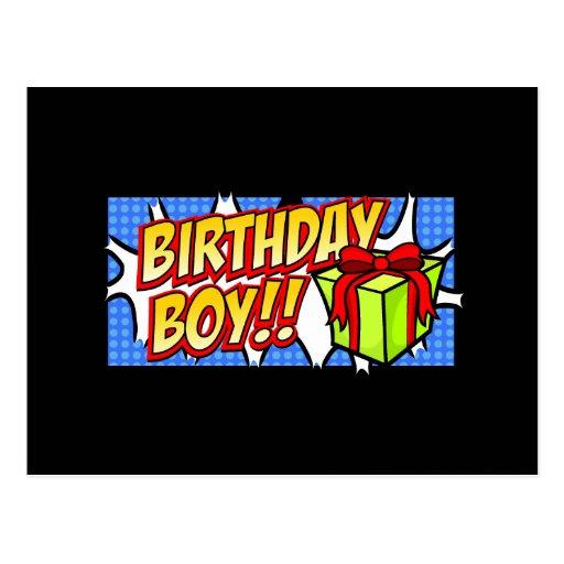 Bandeira do menino do aniversário cartoes postais