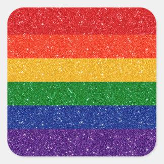 Bandeira do orgulho do arco-íris do brilho adesivo quadrado