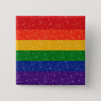 Bandeira do orgulho do arco-íris do brilho bóton quadrado 5.08cm