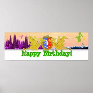 Bandeira do partido do dragão do feliz aniversario pôster