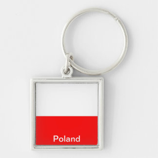 Bandeira do Polônia Chaveiro Quadrado Na Cor Prata