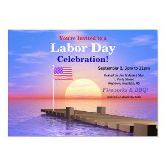 Bandeira dos E.U. do partido do Dia do Trabalhador Convite 12.7 X 17.78cm
