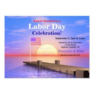 Bandeira dos E.U. do partido do Dia do Trabalhador Convite 13.97 X 19.05cm