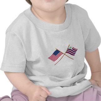 Bandeira dos E.U. e bandeira cruzadas do marinho d Camiseta