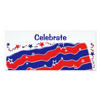"""Bandeira dos Estados Unidos Convite 10.16"""" X 23.49cm"""