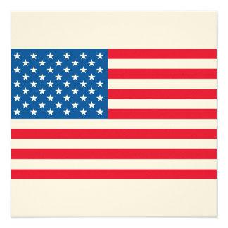 Bandeira dos Estados Unidos da bandeira dos EUA Convite Quadrado 13.35 X 13.35cm