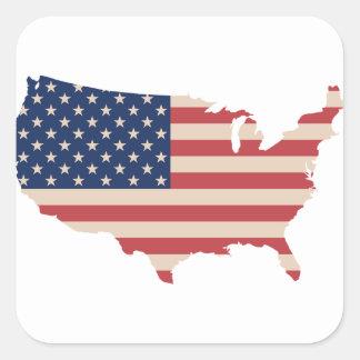 Bandeira dos EUA Adesivo Quadrado