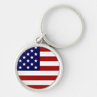 Bandeira dos EUA Chaveiro Redondo Na Cor Prata