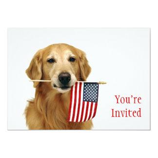 Bandeira dourada e americana convite 12.7 x 17.78cm