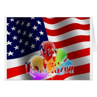 Bandeira e balões novos do cidadão dos E.U. Cartão Comemorativo